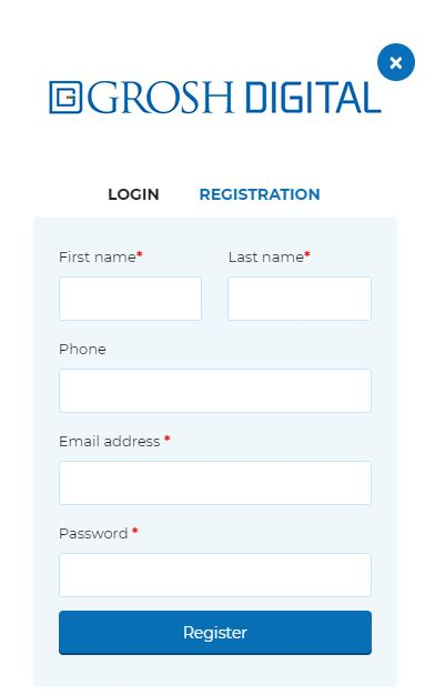 Register for an account on Grosh Digital