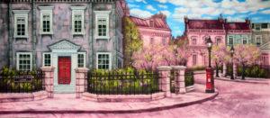 Cherry tree lane street digital backdrop